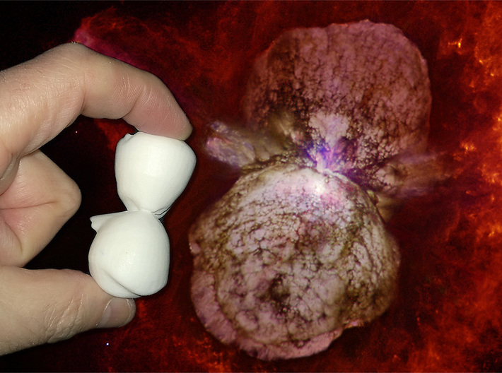 Homunculus Nebula, 20mm long 3d printed Model Homunculus Nebula (60mm, white strong & flexible material shown) compared to the real thing.