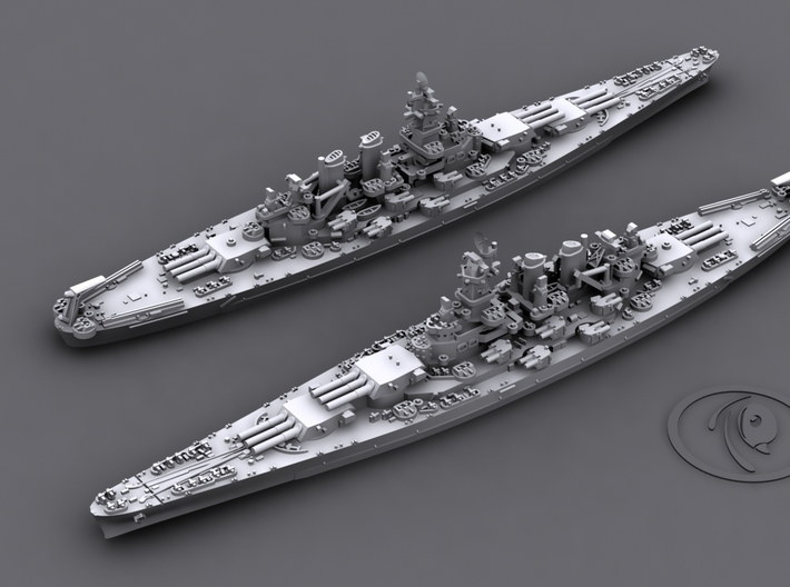 1/4800 US BB North Carolina [1944] (x2) 3d printed Computer software render