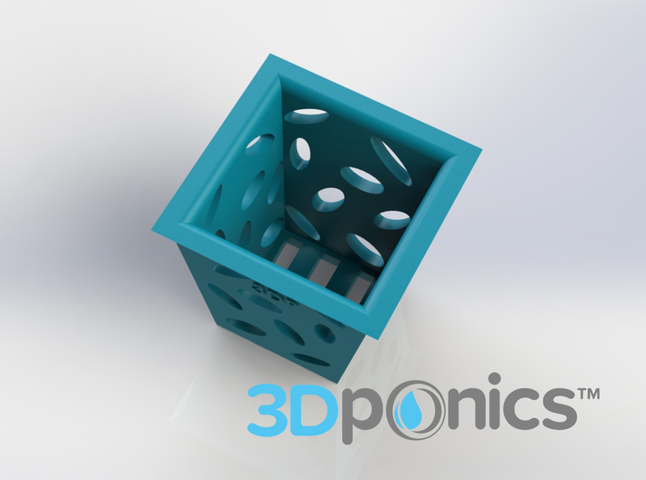 Planter (Square) - 3Dponics  3d printed Visit our website (https://www.3dponics.com) and join our Google+ community (https://plus.google.com/u/0/communities/111638904033818784260)