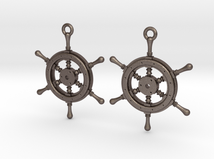 Ship wheel earrings 3d printed