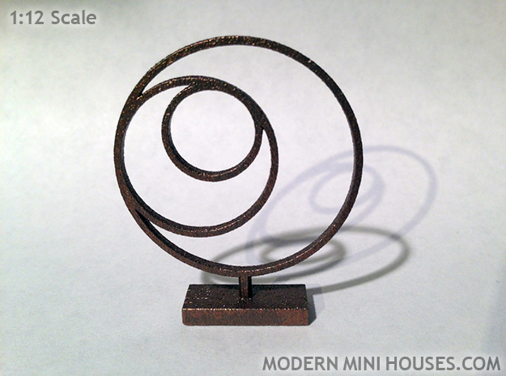 3 Circle Metal Art 1:12 scale modern art sculpture 3d printed Stainless Steel