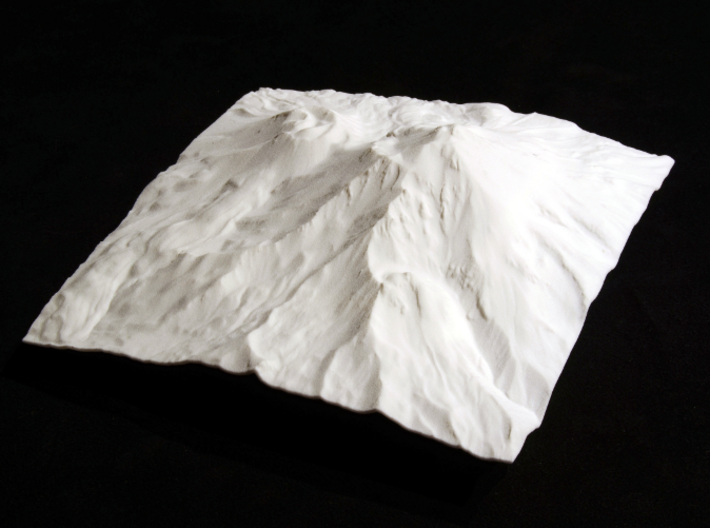 6'' Mt. Shasta, California, USA 3d printed Overhead view of model, from southeast