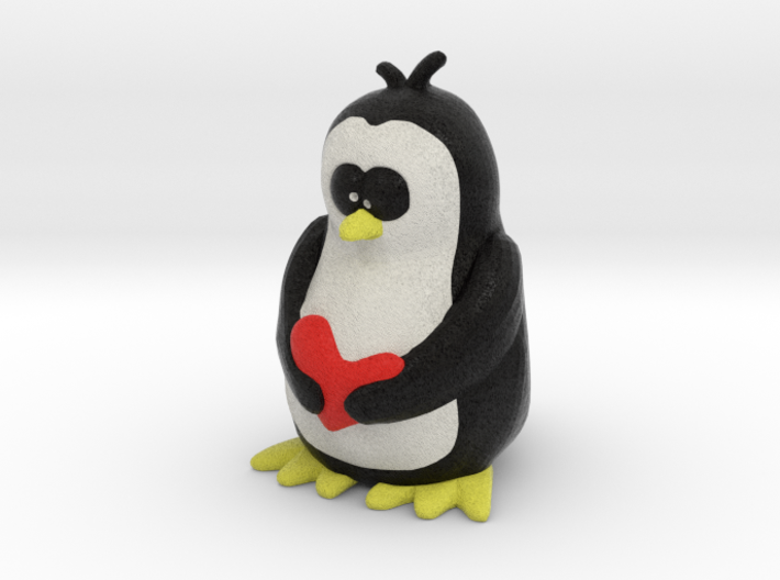 Penguin with Heart 3d printed