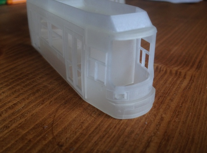 GT6N Tram H0 3d printed Detail shot of the front.