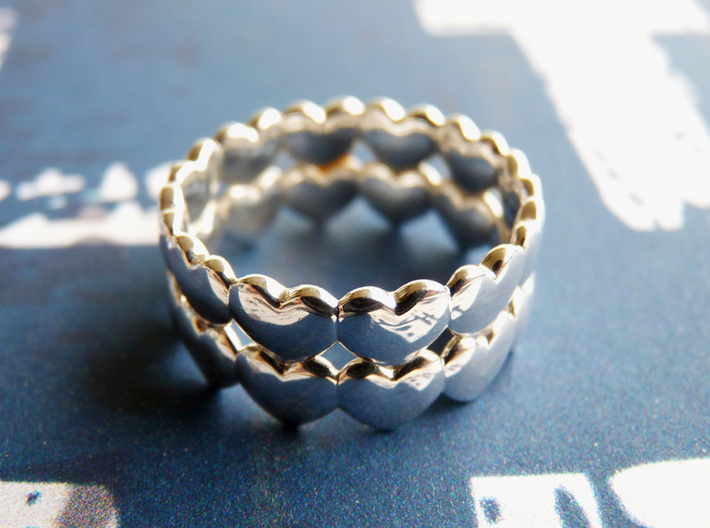 Ring Double Hearted (parallel) 3d printed Premium Silver