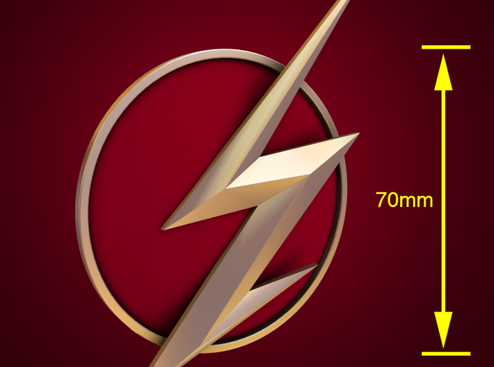 The Flash - Left Ear Bolt (TV Flash) -70mm 3d printed