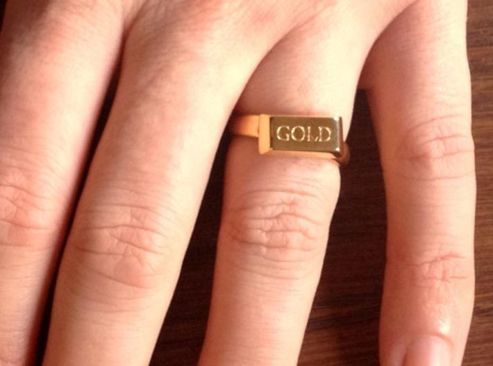 Gold Bar Ring 3d printed The Gold Bar Ring, printed in 18K Gold Plated