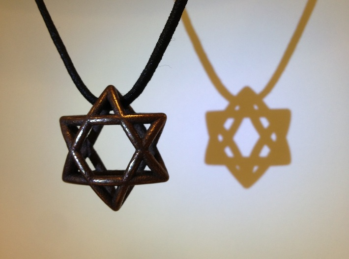 Star Of David Pendant 3d printed Stainless steel with bronze finish