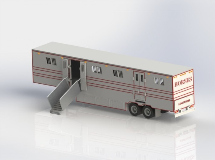 HO 1/87 Horsebox 48' Semi 02 3d printed CAD render showing one ramp fitted.