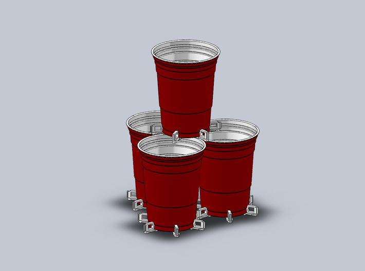 Beer Pong Cup Holder (Pack of 6) 3d printed