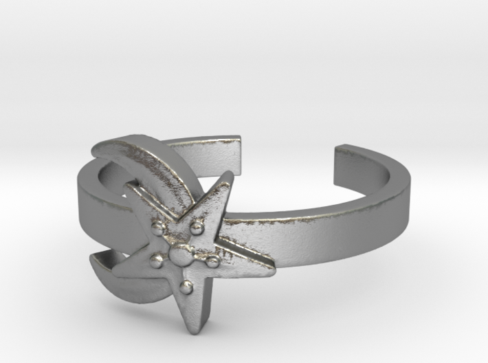 Moon-And-Star Ring Size 7 3d printed