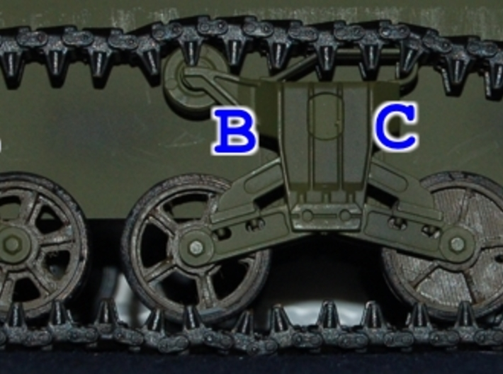 1/16 HengLong M4 Sherman spoked wheels 3d printed B in this picture