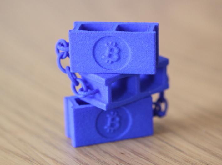 Bitcoin Blockchain 3d printed Blue Strong & Flexible