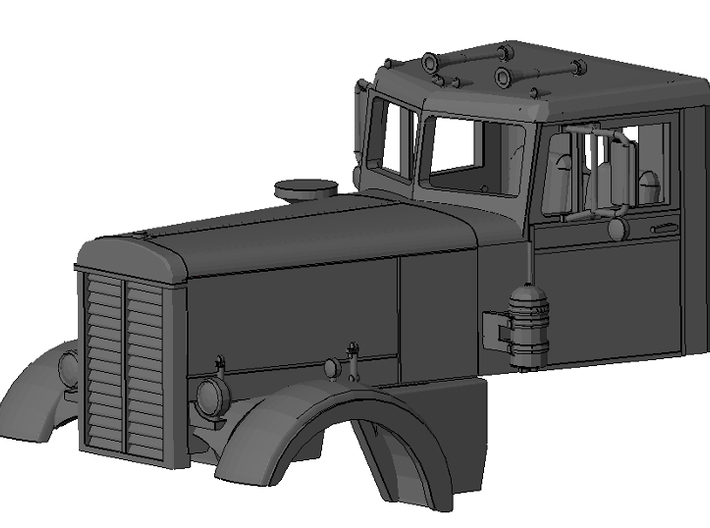 1/87th Interpretation of Peterbilt Long Hood Conve 3d printed Rendering of complete unit with detail file.