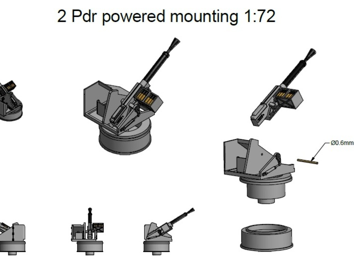 2pdr  MkVIII Powered mounting1/72 3d printed