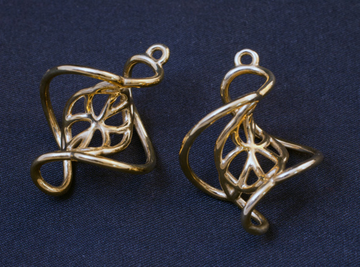 Swirl Earrings 3d printed Printed in Polished Brass