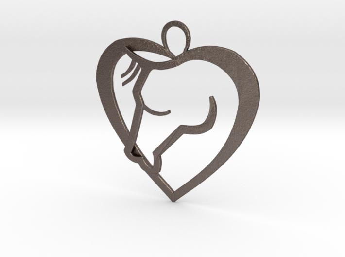 Heart Horse Pendant 3d printed