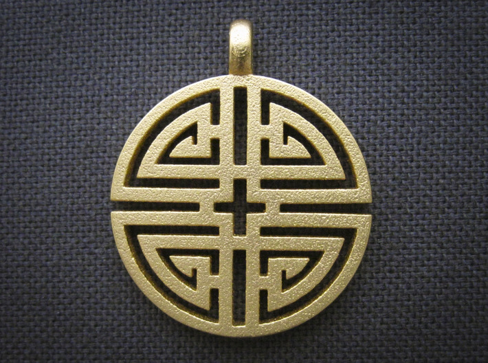Longevity Pendant 3d printed Shown in Matte Gold Steel