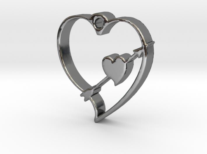 Cupid's Shot Heart Pendant 3d printed