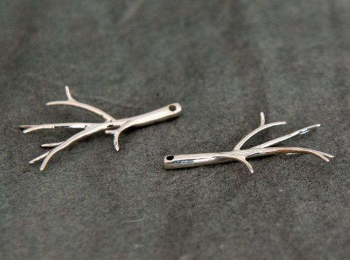 Twiggy Earrings 3d printed In Premium Silver finish