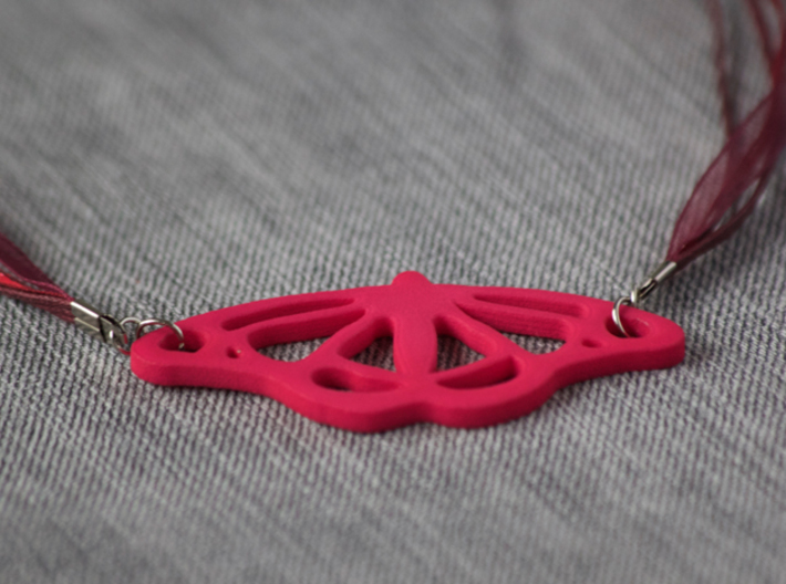 Viceroy Butterfly Pendant 3d printed Pink strong and flexible polished. Ribbon chain not included.