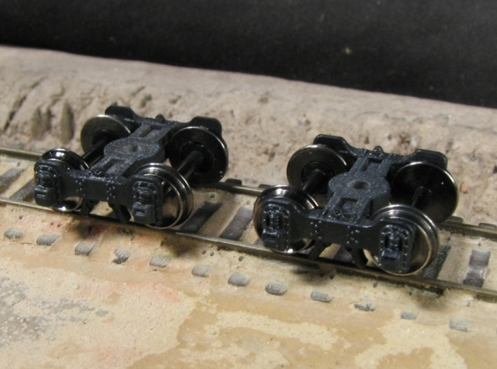 T95s N scale short Fox truck, screw mount 3d printed shown with FVM wheels