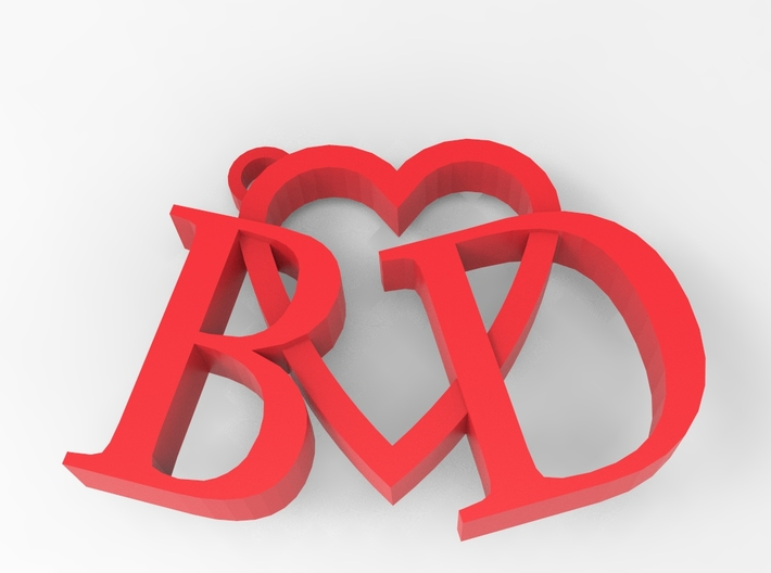 B&q Chair Rail Part - 48: B Love D (Key Chain - Pendant) 3d Printed