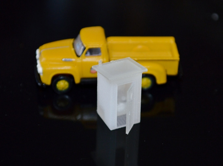 N-Scale Slant Roof Outhouse 3d printed Production Photo - CMW F-350 Shown For Size Comparison
