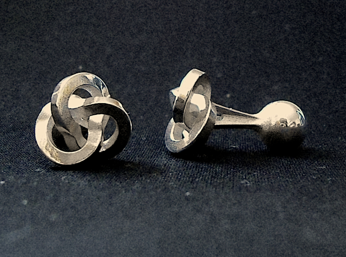 Trefoil Cufflinks 3d printed Front and Left Views [Polished Silver]