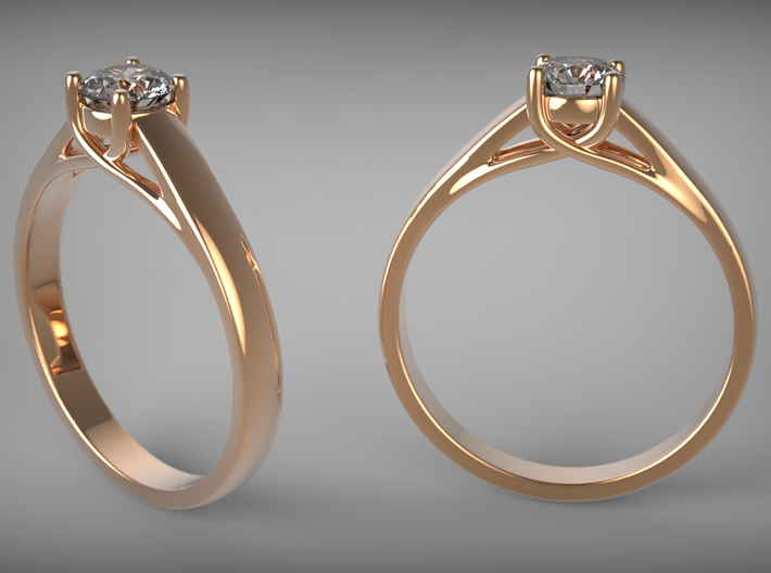 Diamond Ring 3d printed Red Gold