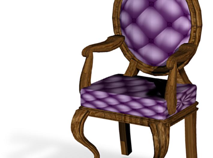1:144 Micro Scale VioletDark Oak Louis XVI Chair 3d printed