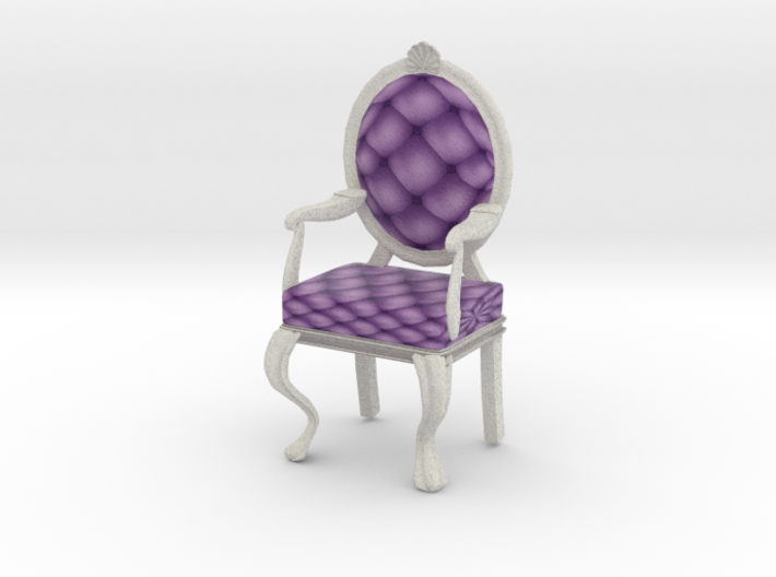 1:12 One Inch Scale LavWhite Louis XVI Chair 3d printed