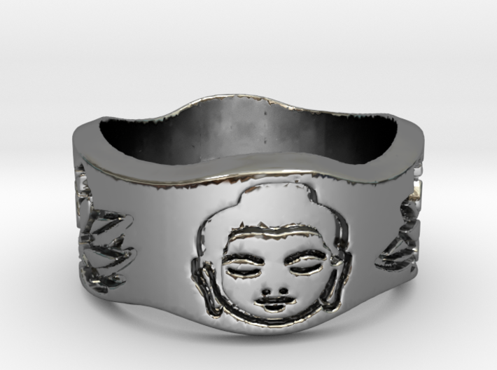 Buddha and Lotus Ring Size 4.5 3d printed