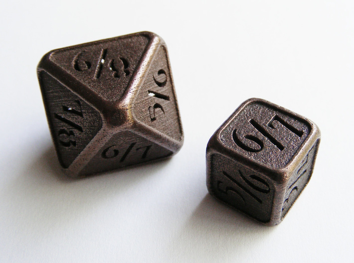 'Simple' D8 Tarmogoyf P/T balanced die 3d printed My eight sided Tarmogoyf die compared to my six sided version.