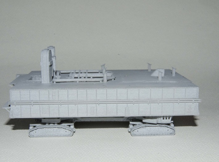 1/400 Shuttle MLP & Crawler, launch pad 3d printed Side elevation showing details of the towers & sound-suppression pipework. The MLP numbers are raised surfaces to make them easier to paint. Primer-grey finish.
