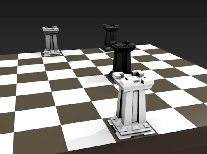 Rook - Mini Chess Piece 3d printed Chess board not included. Multiple pieces shown for multiple colors.