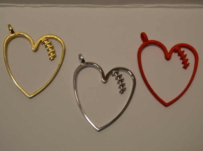 Mended Heart Pendant 3d printed 18k Gold Plated, Rhodium Plated and Polished Red Plastic