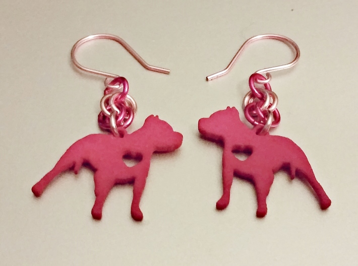 Pittie Love Earring 3d printed Shown with light & dark pink jump rings and ear hooks.