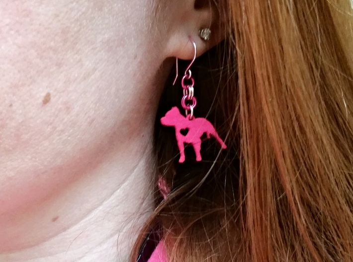 Pittie Love Earring 3d printed Will sell finished earrings like this on Etsy soon.