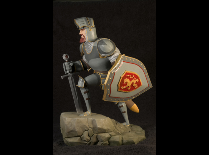 TheKnight (Large) 3d printed This is the result after sanding the base and hand painting it with Revell Aqua Paints. Not available as a painted piece.