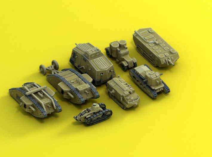 6mm 1/285 WW1 Armour collection 3d printed