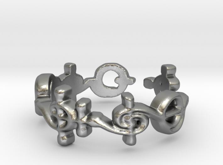 """T'hy'la"" Vulcan Script Ring - Cut Style 3d printed"