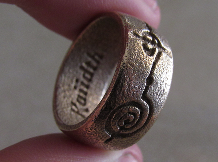 """""""Kaiidth"""" Vulcan Script Ring - Engraved Style 3d printed Pictured: Stainless Steel"""