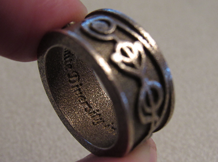 """IDIC"" Vulcan Script Ring - Embossed Style 3d printed Pictured: Stainless Steel"