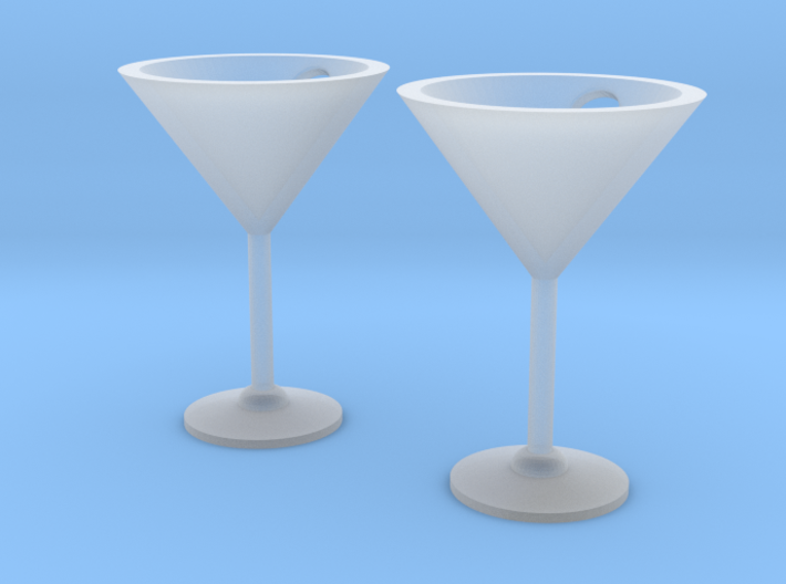 Martini Glass Earrings 3d printed