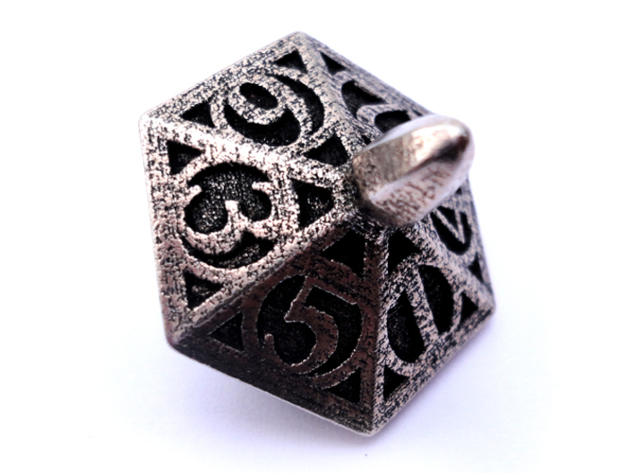 Top d6 3d printed In stainless steel and inked.