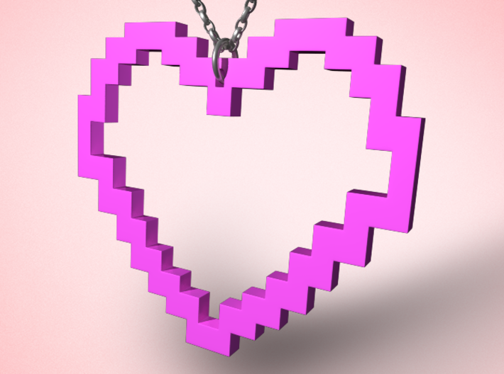 Pixel Heart Necklace 3d printed
