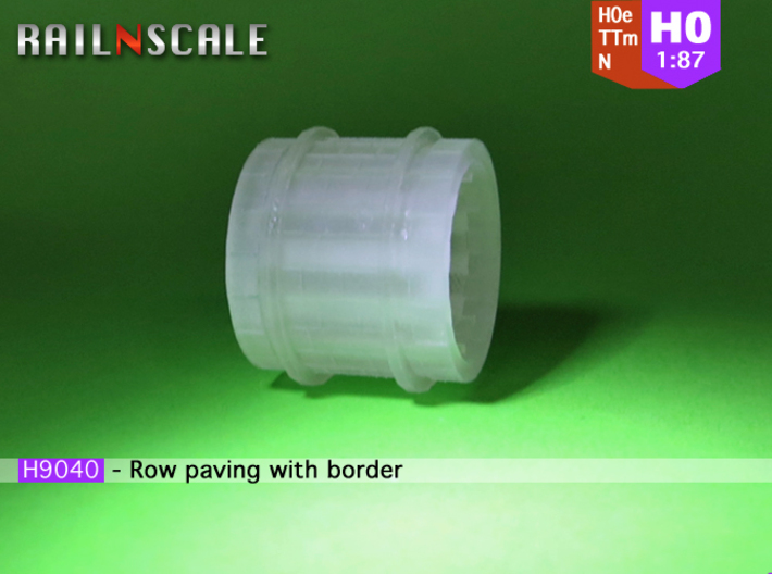 Row paving with border (H0e 1:87) 3d printed