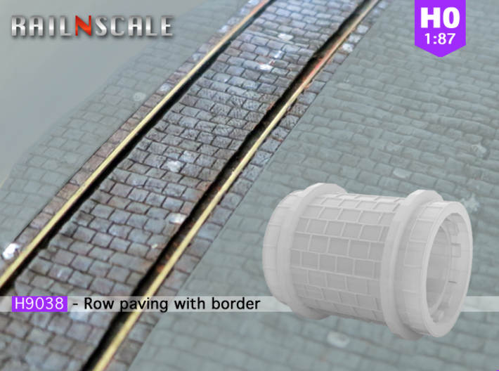 Row paving with border (H0) 3d printed