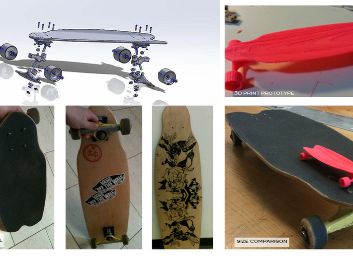 skateboard shooter 3d printed Exploded View, FDM print + function test